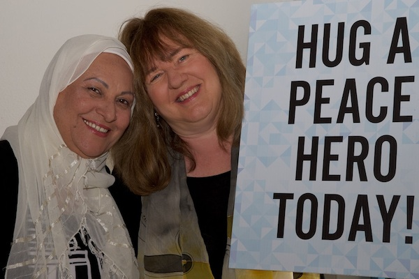 reGeneration president Shepha Vainstein ® with peace hero honoree Itaf Awad